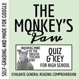"""""""The Monkey's Paw"""" by W.W. Jacobs - Quiz & Key"""