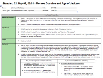 The Monroe Doctrine & The Age of Jackson (LP  + Docs + PPT)