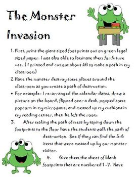 The Monster Invasion- Expository Writing explaining in sequence