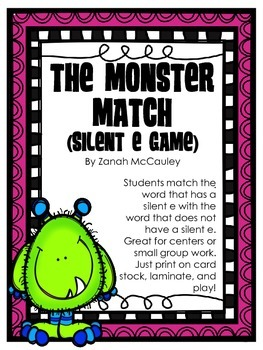 The Monster Match: A Silent E Matching Game