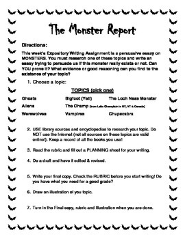 The Monster Report - Persuasive Expository Writing