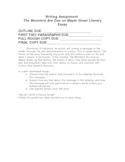 The Monsters Are Due on Maple Street Literary Essay Assignment