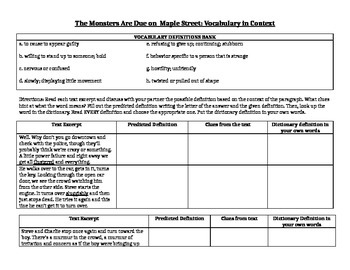 The Monsters Are Due on Maple Street Vocabulary in Context