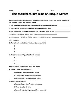 """The Monsters are Due on Maple Street""  selection test"