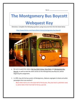 The Montgomery Bus Boycott- Webquest and Video Analysis with Key