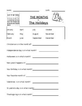 The Months Double Worksheet