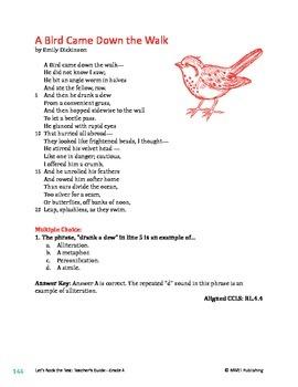 4th Grade Poem Sets- Literary Text Test Prep