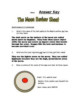 The Moon Review Sheet and Test
