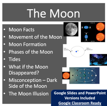 The Moon - Space PowerPoint Lesson & Student Notes Package