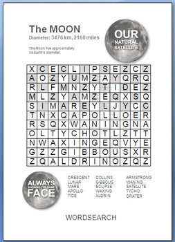 The Moon WORDSEARCH