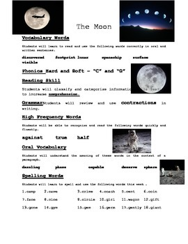 The Moon - Weekly Sheet - 2nd Grade Treasures