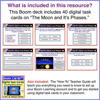 The Moon and Its Phases Boom Cards™