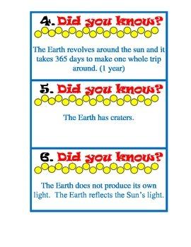 Moon Phase Calendar and Sun, Earth, Moon fact cards