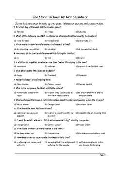The Moon is Down by John Steinbeck - 50 Question Multiple Choice Quiz
