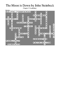 The Moon is Down by John Steinbeck - Chapter 3 Vocabulary Crossword