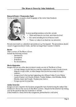 The Moon is Down by John Steinbeck - Creative and Functional Writing Assignments