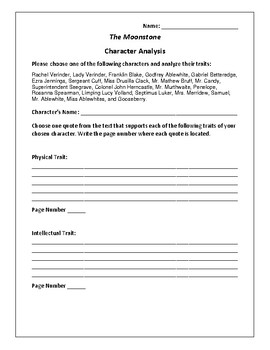 The Moonstone - Character Analysis Activity - Wilkie Collins
