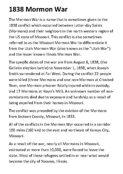 The Mormon War of 1838 Handout