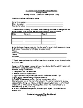 "The Mortal Instruments-""The City of Bones"" Activity Packet"