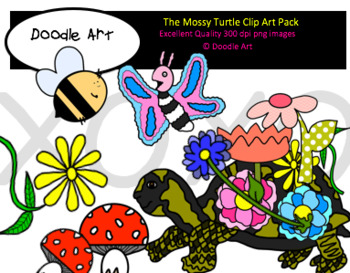 The Mossy Turtle Clipart Pack
