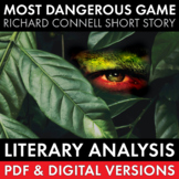 Most Dangerous Game short story lit. analysis worksheets & tasks, Connell, CCSS