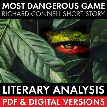 Most Dangerous Game short story lit. analysis worksheets &
