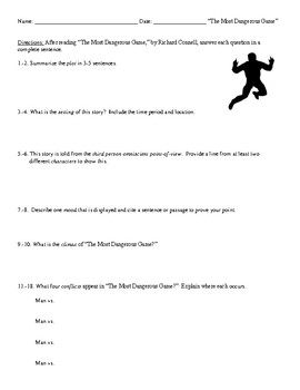 """""""The Most Dangerous Game"""" Review (or Test) and Comprehensive Answer Key"""