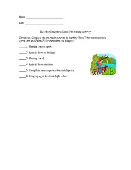 The Most Dangerous Game: Anticipation Guide, Notes, & Comprehension Q's