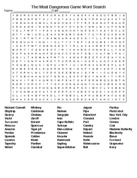 The Most Dangerous Game Crossword & Word Search with KEYS