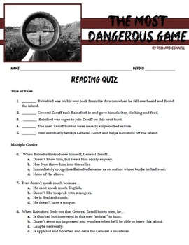 """The Most Dangerous Game"" - Irony and Short Story Unit"