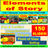 Elements of Story:  Theme, Point of View, Character, Conflict, Plot, Setting