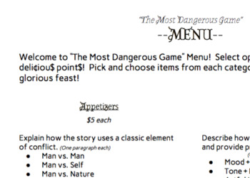 The Most Dangerous Game Menu - Literary Analysis