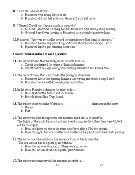 The Most Dangerous Game Modified Multiple Choice Test and Key