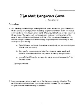 The Most Dangerous Game: Pre-Reading Activity & Discussion Questions