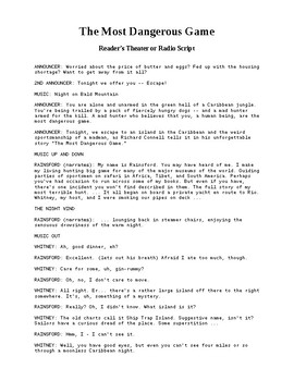 Drama - The Most Dangerous Game - Readers Theater and Radio Script