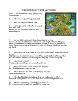 The Most Dangerous Game Worksheet (Story, Characters, and Conflicts)
