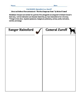 """""""The Most Dangerous Game"""" by Richard Connell Graphic Organizers"""