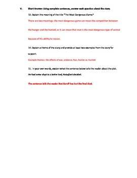 The Most Dangerous Game by Richard Connell Short Story Test with Answer Key