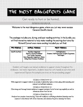 The Most Dangerous Game- Interactive Full Unit!