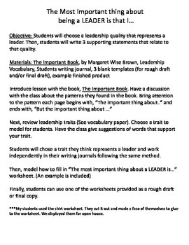 The Most Important Thing about a Leader - by leader in the classroom