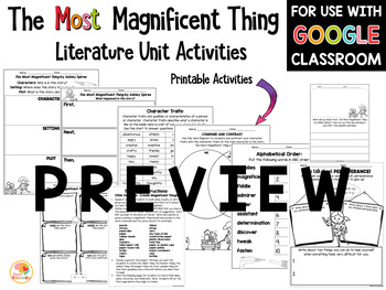 The Most Magnificent Thing Literature Unit Activities