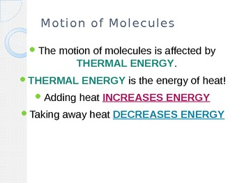 The Motion of Molecules