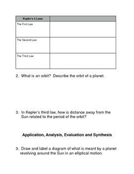 The Motion of  the Planets Common Core Reading and Writing Activities