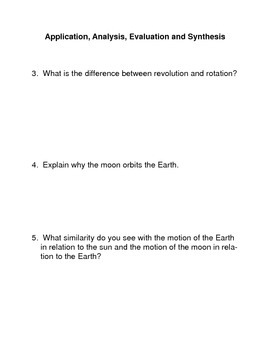 The Motions of the Earth and the Moon Common Core Activity