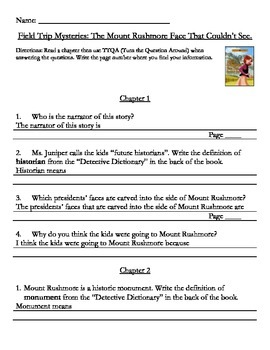 The Mount Rushmore Face That Couldn't See by Brezenoff Comprehension Packet