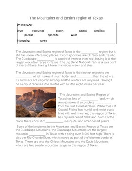 The Mountain and Basin Region of Texas--  CLOZE Reading