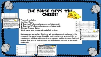 The Mouse Gets the Cheese! Addition, Skip Counting, and Number Tracing Games