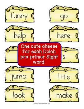 The Mouse Gets the Cheese Sight Word Reading Game - Dolch Pre-Primer Sight Words