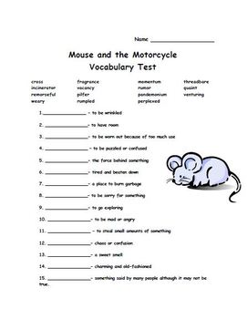 The Mouse and The Motorcycle Vocabulary list & tests