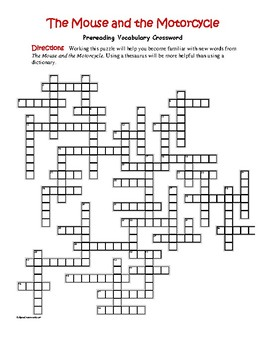 The Mouse and the Motorcycle: 50-word Prereading Crossword—Unique!